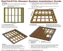 DekTek Tile Sleeper System Installation Brochure